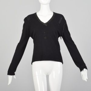Medium 1990s Giorgio Sant'Angelo Black Cashmere Sweater Wool Beaded Fringe