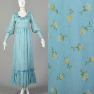 XS 1970s Flocked Prairie Style Maxi Dress Long Sleeve Gown