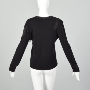 Medium 1990s Giorgio Sant'Angelo Black Cashmere Sweater Wool Beaded Fringe  - Fashionconstellate.com