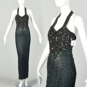 Small 1990s Halter Gown Forest Green Bugle Beaded Evening Dress