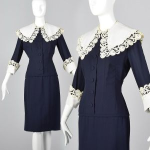 Medium 1950s Navy Blue Dress Large Lace Collar and Cuffs Pencil Skirt