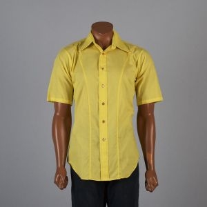 Medium Mens 1970s Shirt Bright Yellow Short Sleeve Pointed Collar Button Down