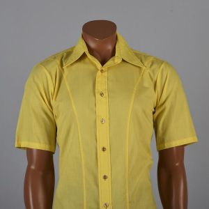 Medium Mens 1970s Shirt Bright Yellow Short Sleeve Pointed Collar Button Down - Fashionconstellate.com