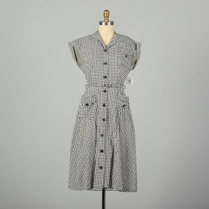 Large 1950s Day Dress Black Houndstooth Cotton Casual Summer