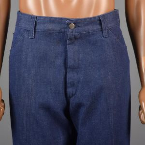 Large 38x29 1970s Denim Pants Blue Jeans Straight Leg Dungarees Work Trousers  - Fashionconstellate.com