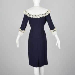 Medium 1950s Navy Blue Dress Large Lace Collar and Cuffs Pencil Skirt - Fashionconstellate.com