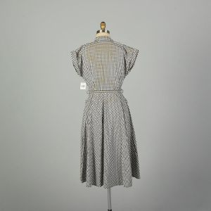 Large 1950s Day Dress Black Houndstooth Cotton Casual Summer - Fashionconstellate.com