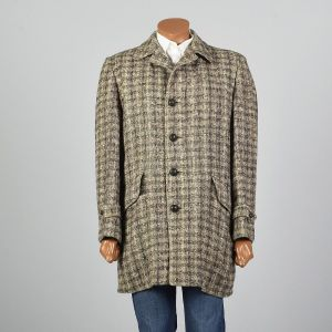 Large 1950s Mens Tweed Wool Plaid Coat McGregor Brown Check Square Cut Nubby Faux Fur Lining  - Fashionconstellate.com