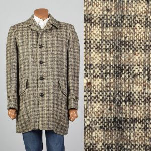Large 1950s Mens Tweed Wool Plaid Coat McGregor Brown Check Square Cut Nubby Faux Fur Lining