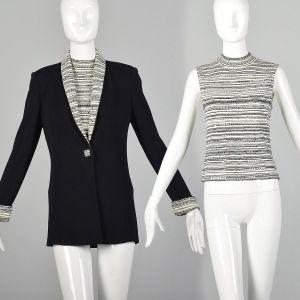Small St. John Evening Jacket Shell Top Black White Sequins Knit Rhinestone Buttons