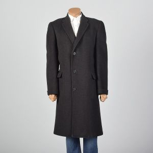 Large 1950s Mens Black Wool Overcoat Striped Convertible Pockets Wide Lapel Single Vent Winter  - Fashionconstellate.com