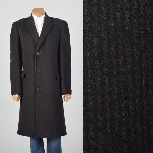 Large 1950s Mens Black Wool Overcoat Striped Convertible Pockets Wide Lapel Single Vent