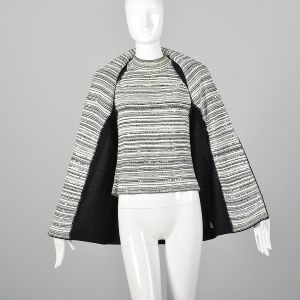 Small St. John Evening Jacket Shell Top Black White Sequins Knit Rhinestone Buttons - Fashionconstellate.com