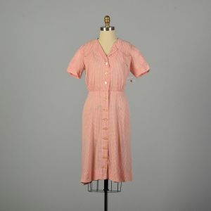 Large 1950s Distressed Pink Peach Day Dress Heavily Loved and Faded As Is