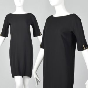 Small 1990s Gucci Black Mini Dress Short Sleeve Shift