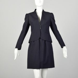 Small 1970s Navy Skirt Suit Wear To Work Professional Ensemble
