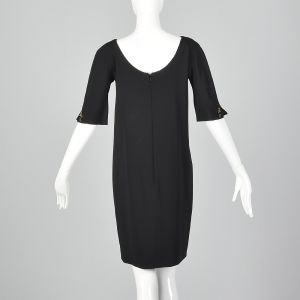 Small 1990s Gucci Black Mini Dress Short Sleeve Shift  - Fashionconstellate.com