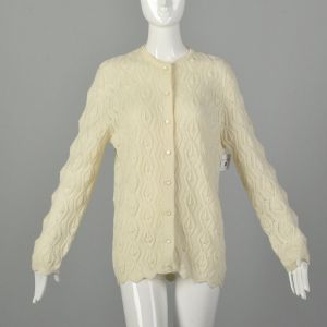 Large 1970s Cardigan Cream Knit Cozy Sweater