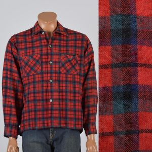 Large Mens 1950s Shirt Red Navy Blue Plaid Wool Blend Collared Button Down