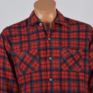 Large Mens 1950s Shirt Red Navy Blue Plaid Wool Blend Collared Button Down - Fashionconstellate.com