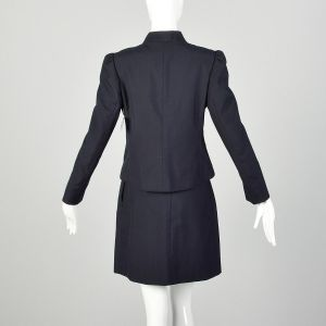 Small 1970s Navy Skirt Suit Wear To Work Professional Ensemble - Fashionconstellate.com