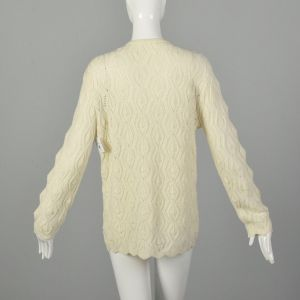 Large 1970s Cardigan Cream Knit Cozy Sweater - Fashionconstellate.com