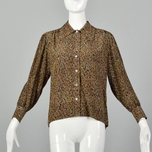 Small Brown Top 1970s Silk Abstract Multicolor Print Long Sleeve Button Up Blouse Shirt