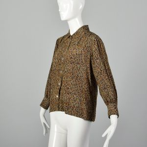 Small Brown Top 1970s Silk Abstract Multicolor Print Long Sleeve Button Up Blouse Shirt - Fashionconstellate.com