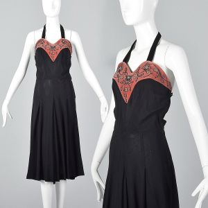 XS 1930s Black Halter Dress Pink Velvet Sweetheart Neckline Beading Detail