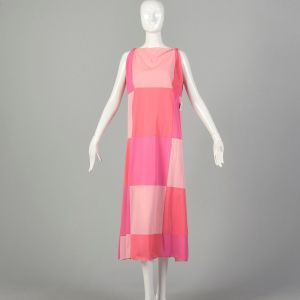 Small 1960s Vanity Fair Mod  Color Block Nightgown Pink Boatneck