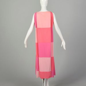 Small 1960s Vanity Fair Mod  Color Block Nightgown Pink Boatneck - Fashionconstellate.com