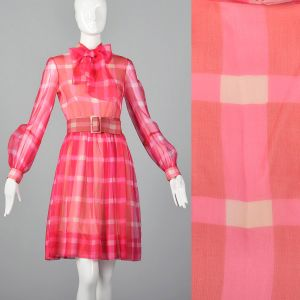 Small 1970s Dress Pink Plaid Pussy Bow Sheer Long Sleeve