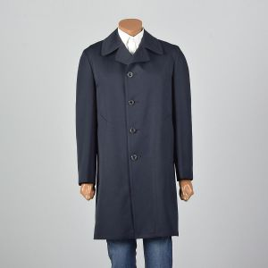 Medium 1970s Mens Navy Overcoat Pockets Removable Liner Single Vent Year Round Button Front  - Fashionconstellate.com