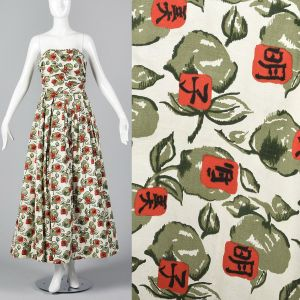 XS 1950s Dress Novelty Red Rose Print Strapless Fit and Flare Full Maxi Skirt Evening Gown