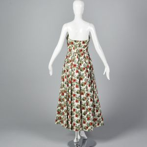 XS 1950s Dress Novelty Red Rose Print Strapless Fit and Flare Full Maxi Skirt Evening Gown - Fashionconstellate.com