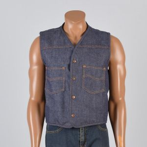 Large 1970s Mens Vest Blue Jean Denim Faux Shearling Lining Snap Front