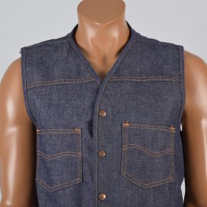 Large 1970s Mens Vest Blue Jean Denim Faux Shearling Lining Snap Front  - Fashionconstellate.com