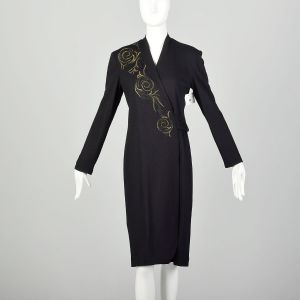 Medium Louis Feraud Wrap Dress 1990s Wool Black Gold Embroidered Long Sleeve