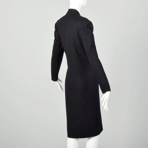Medium Louis Feraud Wrap Dress 1990s Wool Black Gold Embroidered Long Sleeve - Fashionconstellate.com