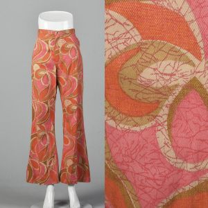 Small 1970s Wrangler Orange Bell Bottoms Pink Abstract Print Jeans