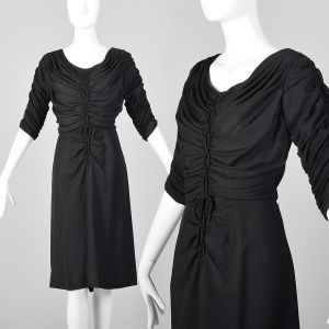 Medium 1950s Black Rayon Dress Gathered Bodice Elbow Sleeves Scoop Neck LBD
