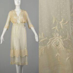 XXS 1910s Lace Dress Layered Sheer Edwardian Summer