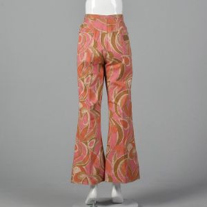 Small 1970s Wrangler Orange Bell Bottoms Pink Abstract Print Jeans  - Fashionconstellate.com
