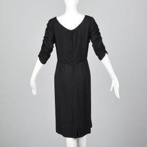 Medium 1950s Black Rayon Dress Gathered Bodice Elbow Sleeves Scoop Neck LBD - Fashionconstellate.com