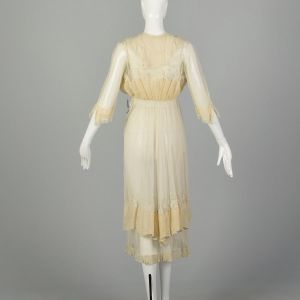 XXS 1910s Lace Dress Layered Sheer Edwardian Summer - Fashionconstellate.com