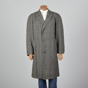 XL 1950s Mens Tweed Overcoat Long Sleeve Button Front Pockets Single Vent Black Winter  - Fashionconstellate.com