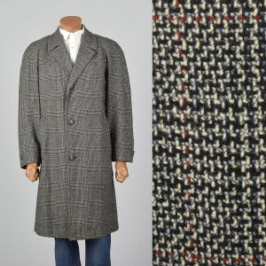 XL 1950s Mens Tweed Overcoat Long Sleeve Button Front Pockets Single Vent Black Winter