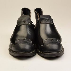 Size 11.5 1980s Deadstock Hy Test Black Leather Boots Steel Toe Ankle Lace Guard