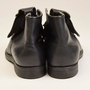 Size 11.5 1980s Deadstock Hy Test Black Leather Boots Steel Toe Ankle Lace Guard  - Fashionconstellate.com