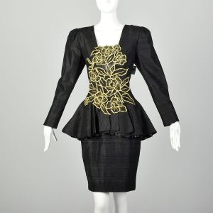 Medium 1980s Black Silk Dress Cocktail Peplum Gold Beaded Appliqué